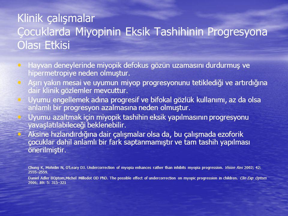Klinik çalışmalar Çocuklarda Miyopinin Eksik Tashihinin Progresyona Olası Etkisi