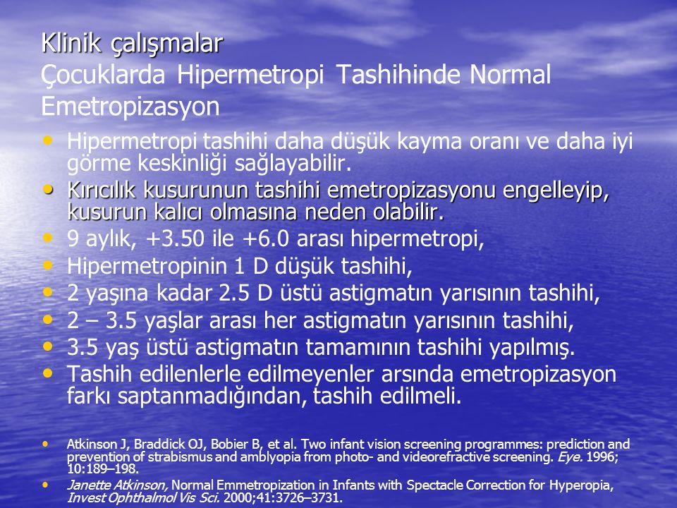Klinik çalışmalar Çocuklarda Hipermetropi Tashihinde Normal Emetropizasyon