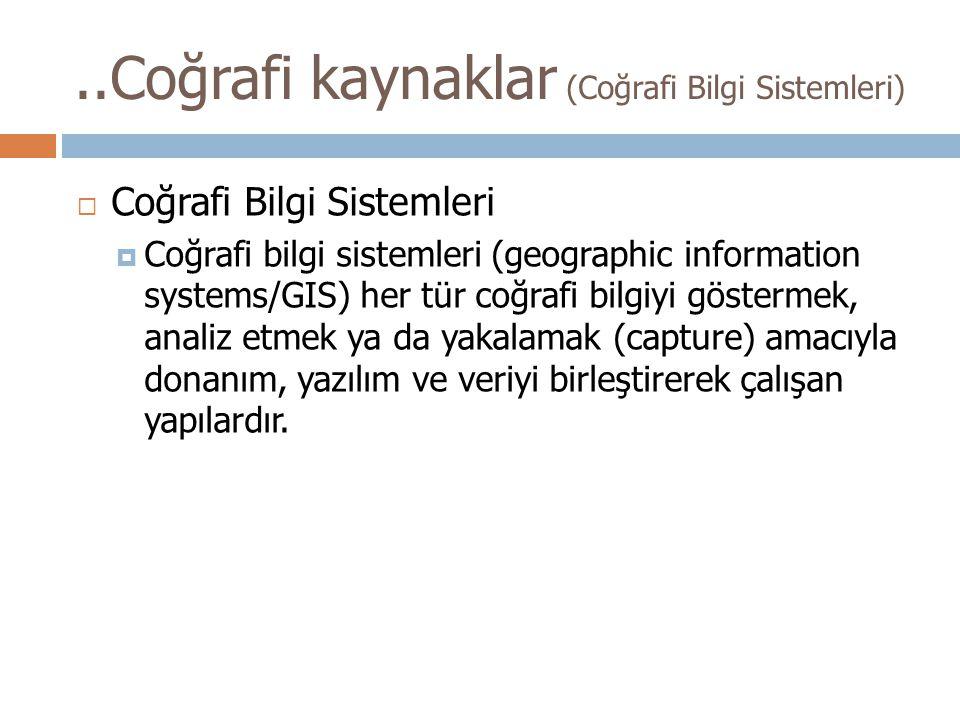 ..Coğrafi kaynaklar (Coğrafi Bilgi Sistemleri)