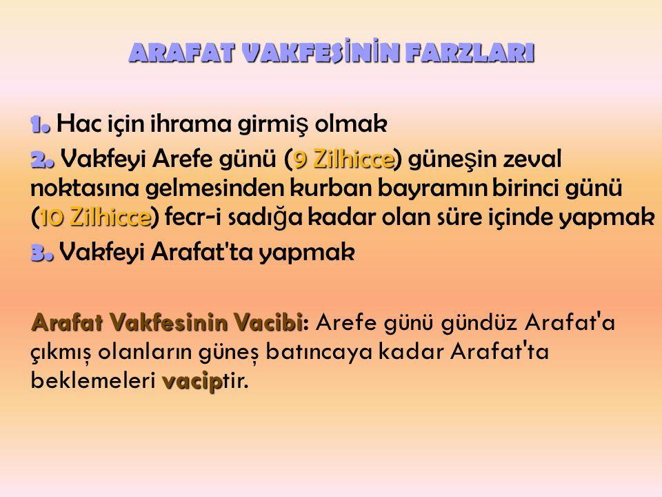 ARAFAT VAKFESİNİN FARZLARI 1. Hac için ihrama girmiş olmak 2