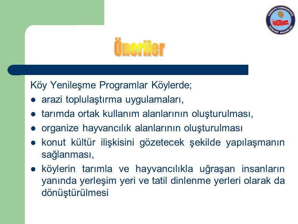 Öneriler Köy Yenileşme Programlar Köylerde;