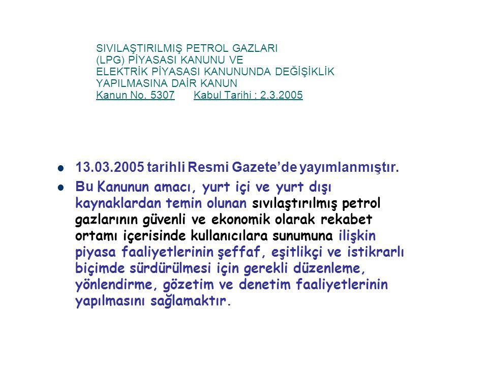 13.03.2005 tarihli Resmi Gazete'de yayımlanmıştır.