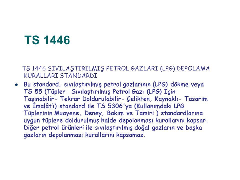 TS 1446 TS 1446 SIVILAŞTIRILMIŞ PETROL GAZLARI (LPG) DEPOLAMA KURALLARI STANDARDI.
