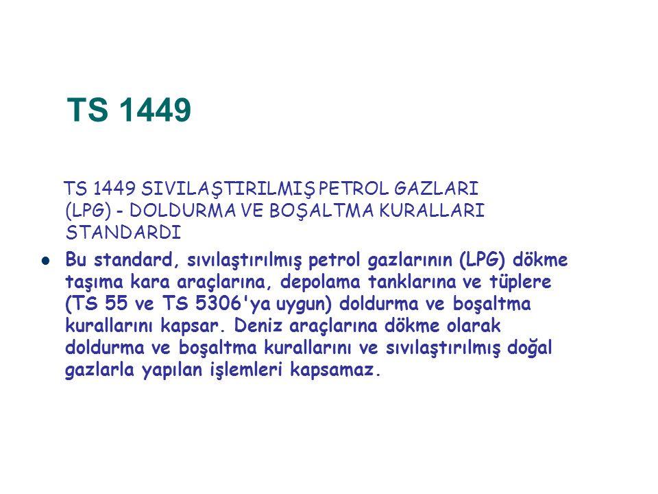 TS 1449 TS 1449 SIVILAŞTIRILMIŞ PETROL GAZLARI (LPG) ‑ DOLDURMA VE BOŞALTMA KURALLARI STANDARDI.