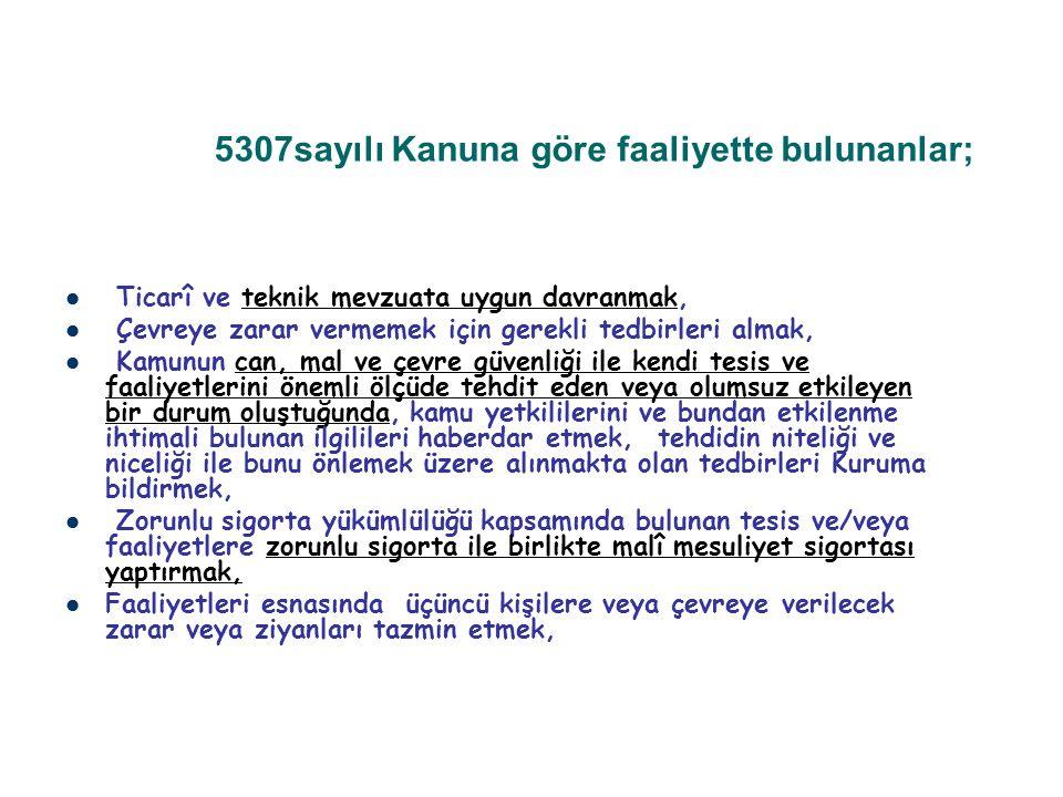 5307sayılı Kanuna göre faaliyette bulunanlar;