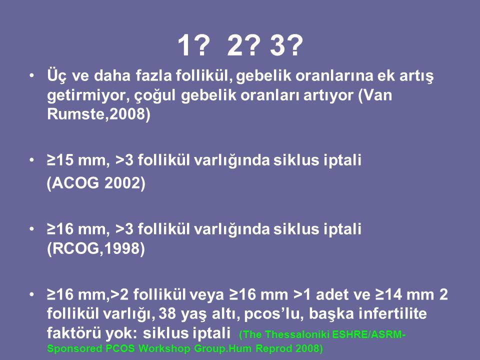 1 2 3 Üç ve daha fazla follikül, gebelik oranlarına ek artış getirmiyor, çoğul gebelik oranları artıyor (Van Rumste,2008)
