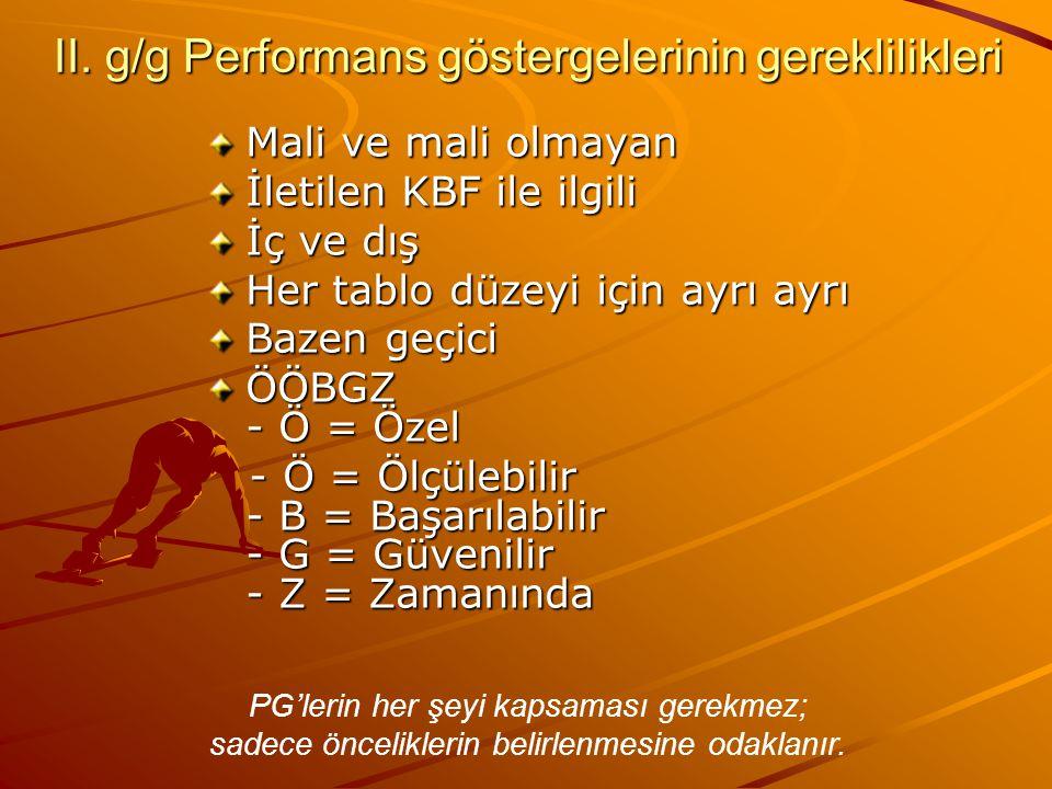 II. g/g Performans göstergelerinin gereklilikleri