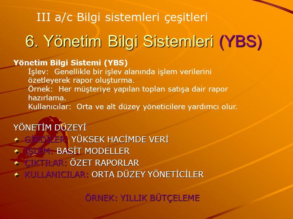 6. Yönetim Bilgi Sistemleri (YBS)