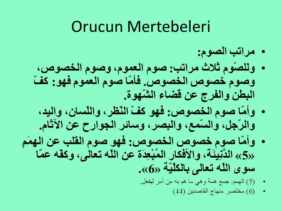 Orucun Mertebeleri مراتب الصوم: