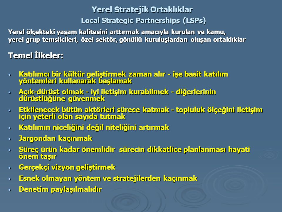 Yerel Stratejik Ortaklıklar Local Strategic Partnerships (LSPs)