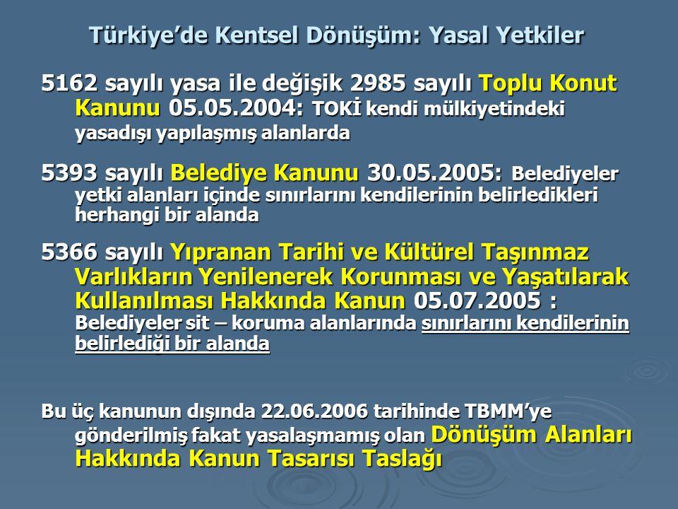 Türkiye'de Kentsel Dönüşüm: Yasal Yetkiler