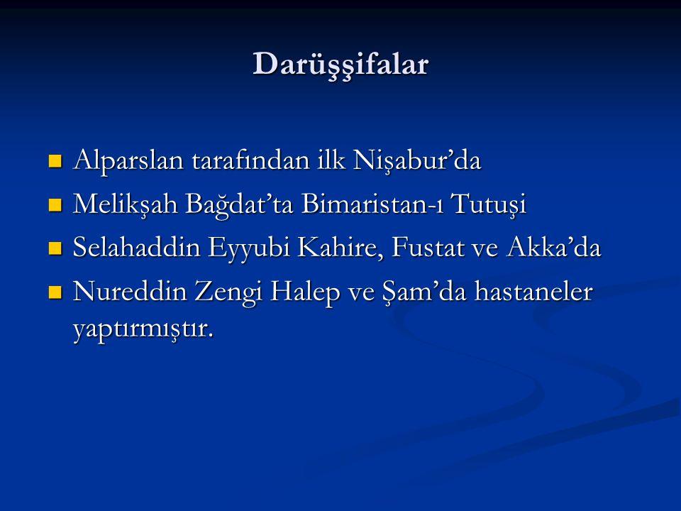Darüşşifalar Alparslan tarafından ilk Nişabur'da