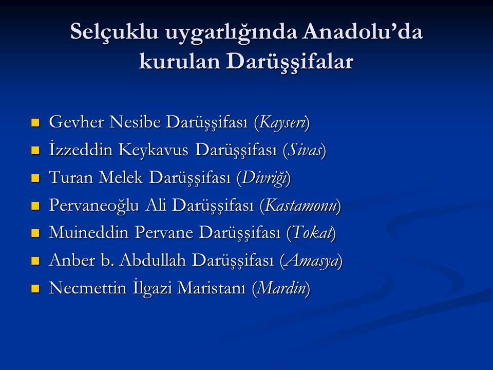 Selçuklu uygarlığında Anadolu'da kurulan Darüşşifalar