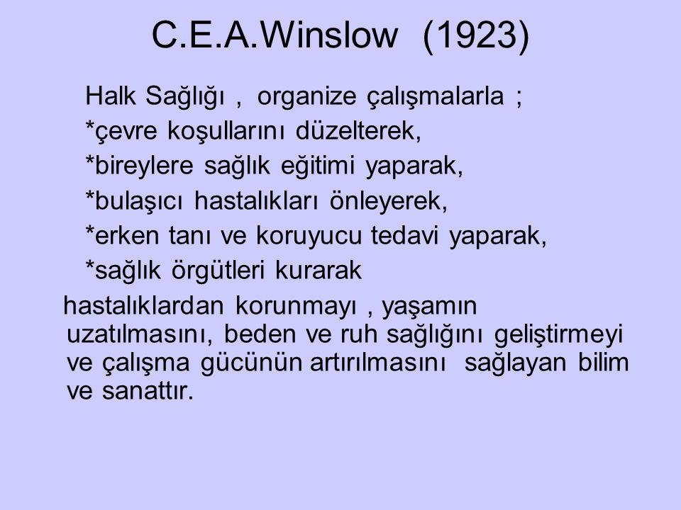 C.E.A.Winslow (1923) Halk Sağlığı , organize çalışmalarla ;