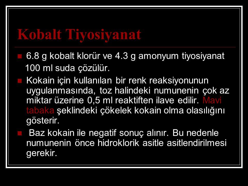 Kobalt Tiyosiyanat 6.8 g kobalt klorür ve 4.3 g amonyum tiyosiyanat