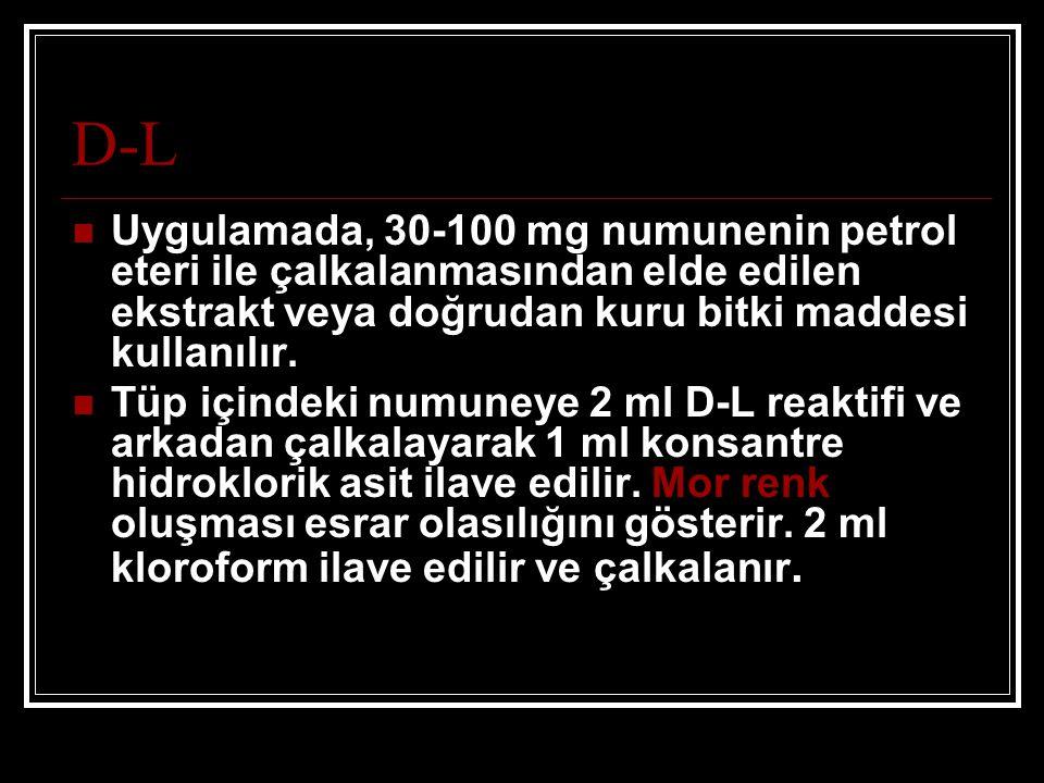 D-L Uygulamada, 30-100 mg numunenin petrol eteri ile çalkalanmasından elde edilen ekstrakt veya doğrudan kuru bitki maddesi kullanılır.