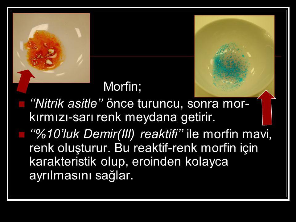 Morfin; ''Nitrik asitle'' önce turuncu, sonra mor-kırmızı-sarı renk meydana getirir.