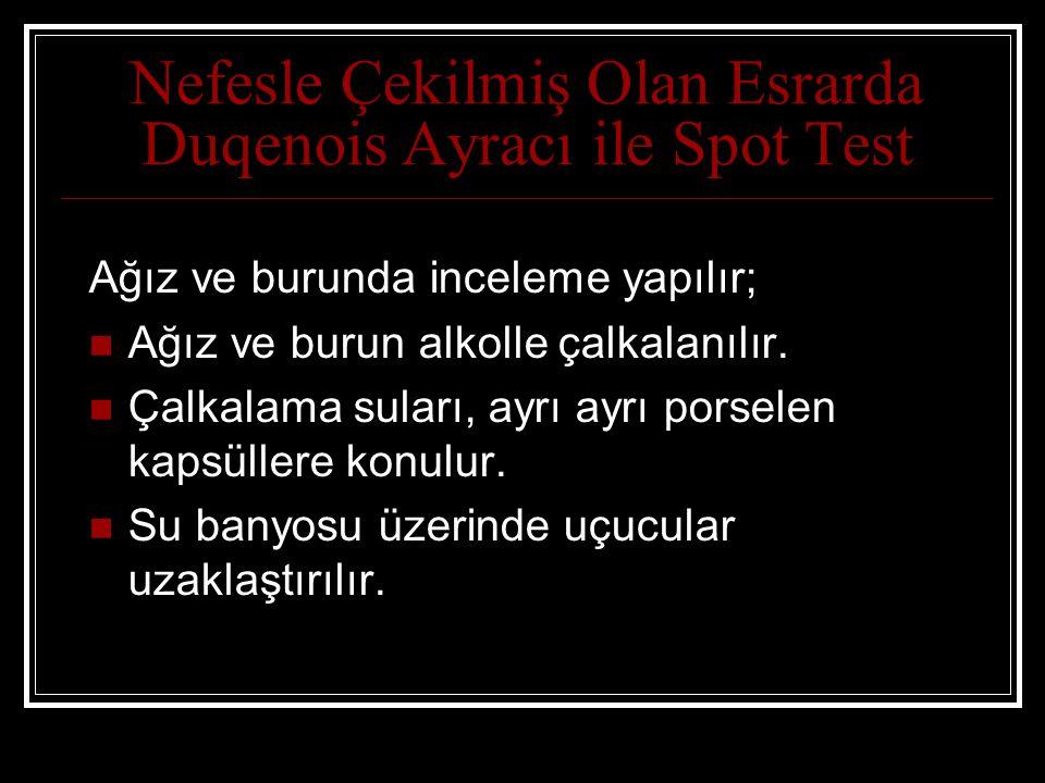 Nefesle Çekilmiş Olan Esrarda Duqenois Ayracı ile Spot Test