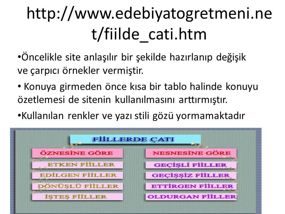 http://www.edebiyatogretmeni.net/fiilde_cati.htm Öncelikle site anlaşılır bir şekilde hazırlanıp değişik ve çarpıcı örnekler vermiştir.