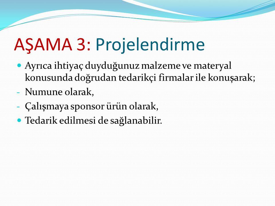 AŞAMA 3: Projelendirme Ayrıca ihtiyaç duyduğunuz malzeme ve materyal konusunda doğrudan tedarikçi firmalar ile konuşarak;