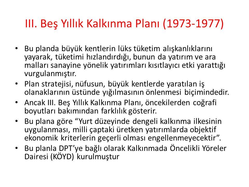 III. Beş Yıllık Kalkınma Planı (1973-1977)