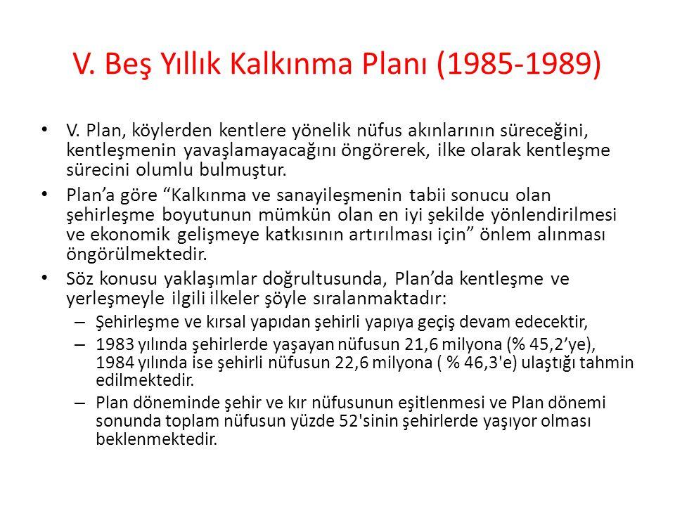 V. Beş Yıllık Kalkınma Planı (1985-1989)