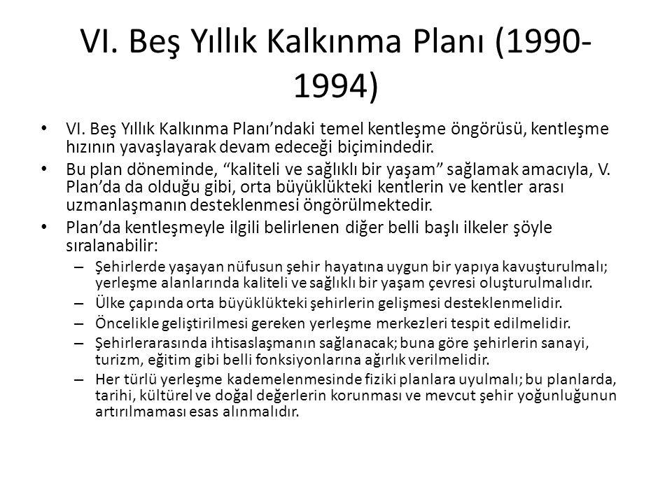VI. Beş Yıllık Kalkınma Planı (1990-1994)