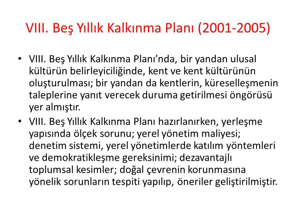 VIII. Beş Yıllık Kalkınma Planı (2001-2005)