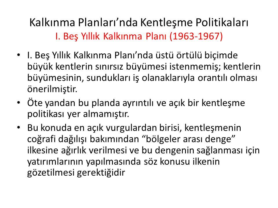 Kalkınma Planları'nda Kentleşme Politikaları I