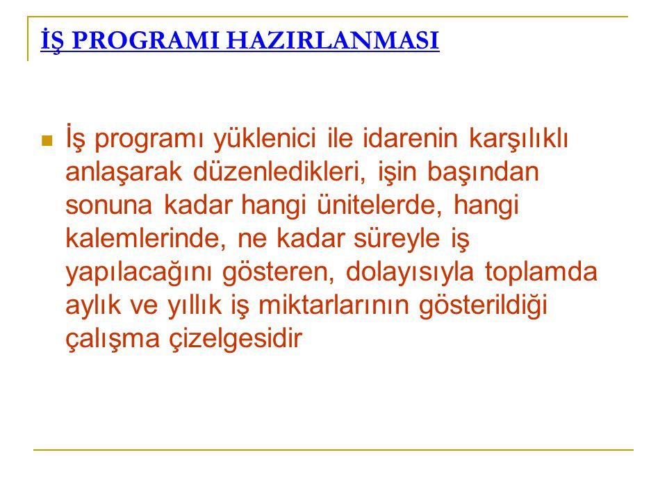 İŞ PROGRAMI HAZIRLANMASI