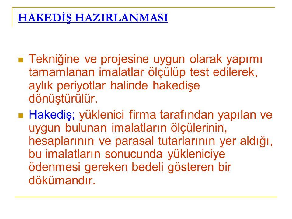 HAKEDİŞ HAZIRLANMASI