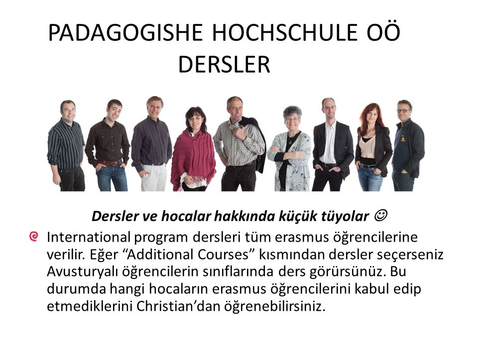 PADAGOGISHE HOCHSCHULE OÖ DERSLER