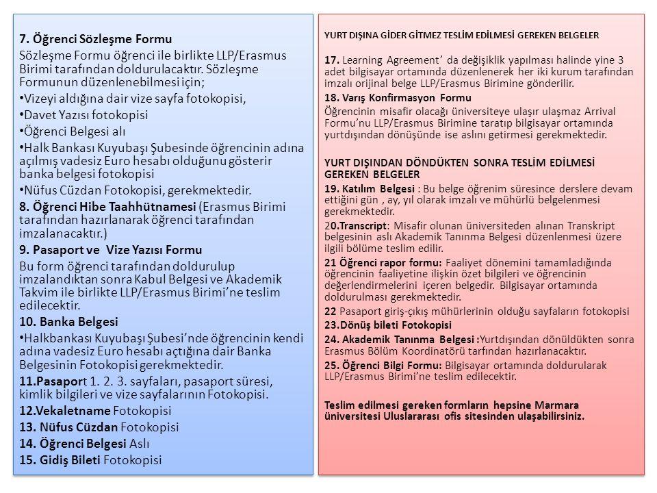 7. Öğrenci Sözleşme Formu