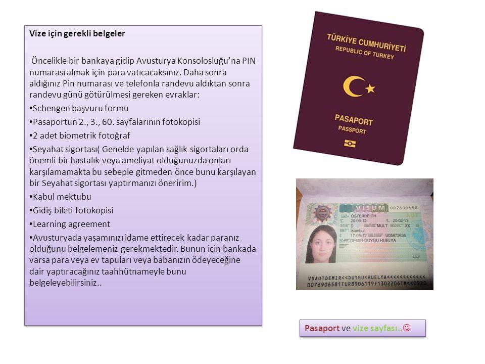 Vize için gerekli belgeler
