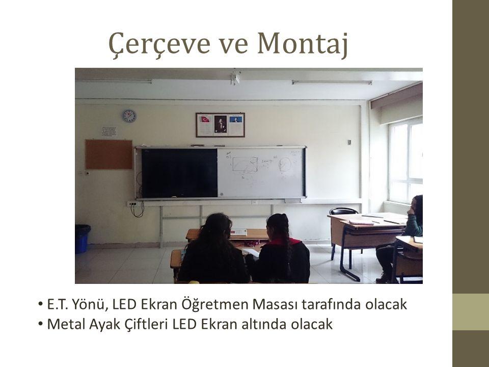 Çerçeve ve Montaj E.T. Yönü, LED Ekran Öğretmen Masası tarafında olacak.