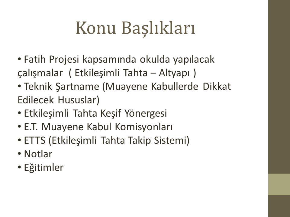 Konu Başlıkları Fatih Projesi kapsamında okulda yapılacak çalışmalar ( Etkileşimli Tahta – Altyapı )