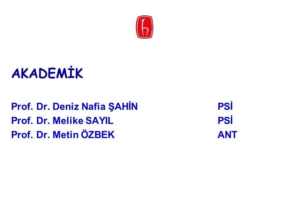 AKADEMİK Prof. Dr. Deniz Nafia ŞAHİN PSİ Prof. Dr. Melike SAYIL PSİ