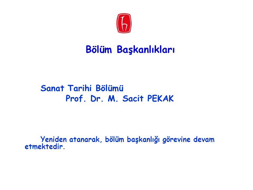 Bölüm Başkanlıkları Sanat Tarihi Bölümü Prof. Dr. M. Sacit PEKAK