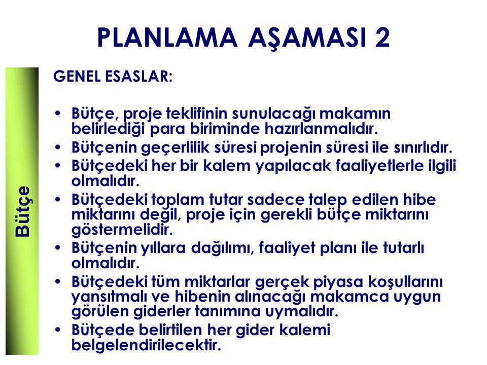 PLANLAMA AŞAMASI 2 Bütçe GENEL ESASLAR: