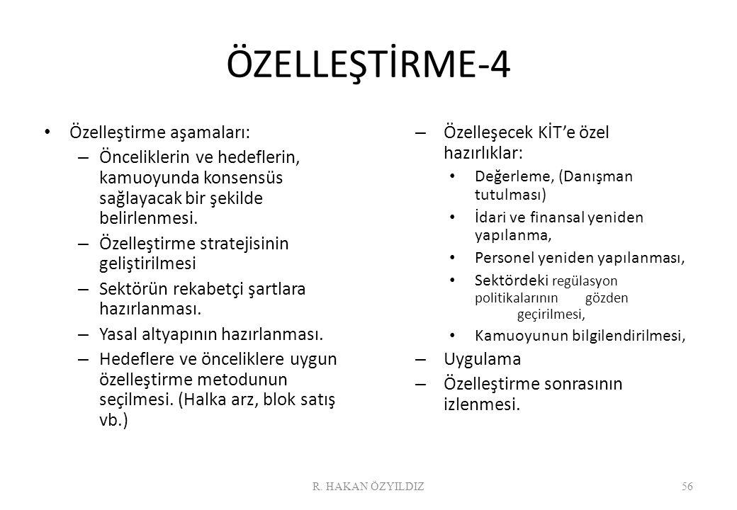 ÖZELLEŞTİRME-4 Özelleştirme aşamaları: