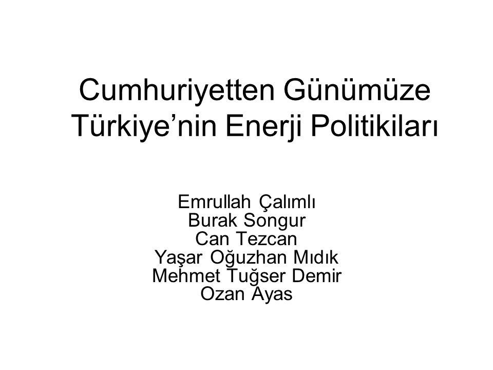 Cumhuriyetten Günümüze Türkiye'nin Enerji Politikiları