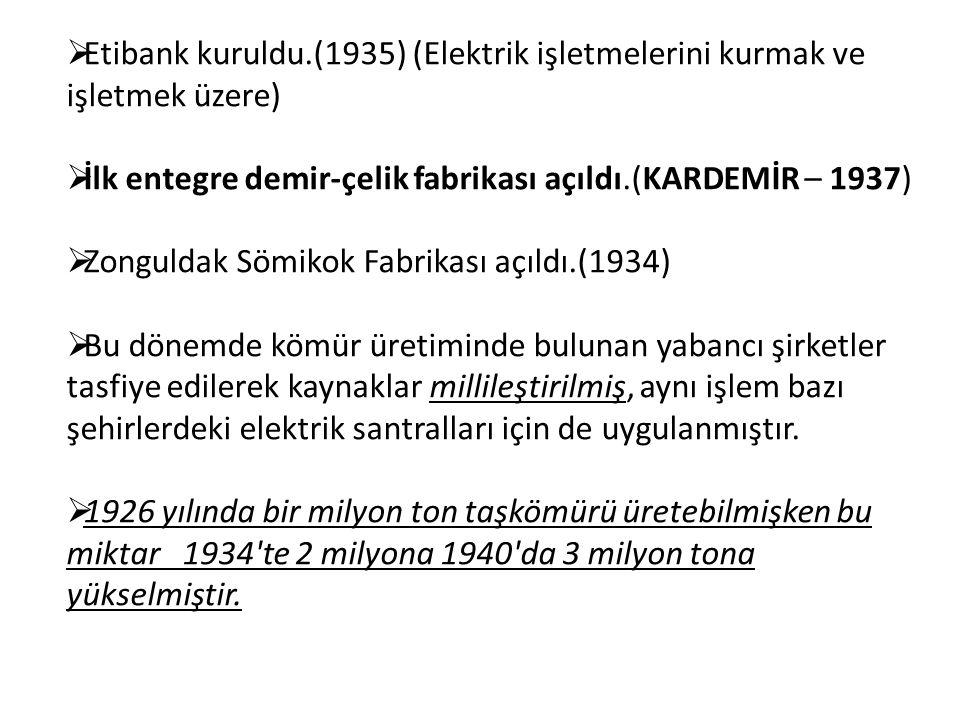 Etibank kuruldu.(1935) (Elektrik işletmelerini kurmak ve işletmek üzere)