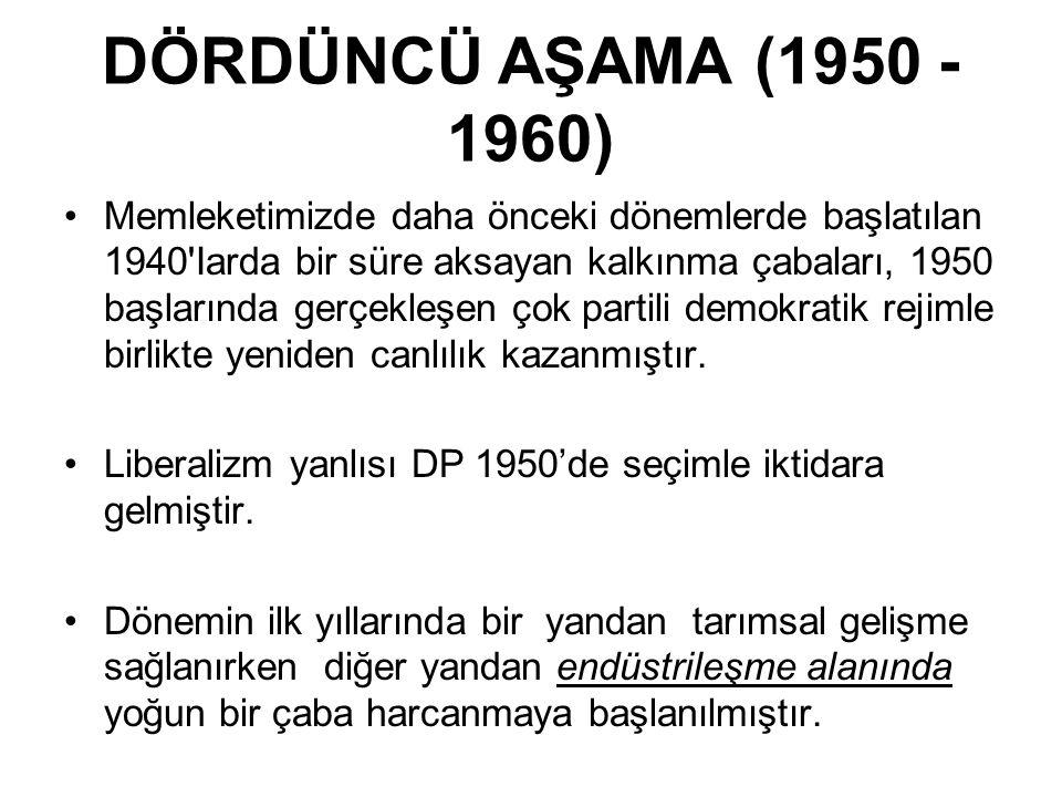 DÖRDÜNCÜ AŞAMA (1950 - 1960)