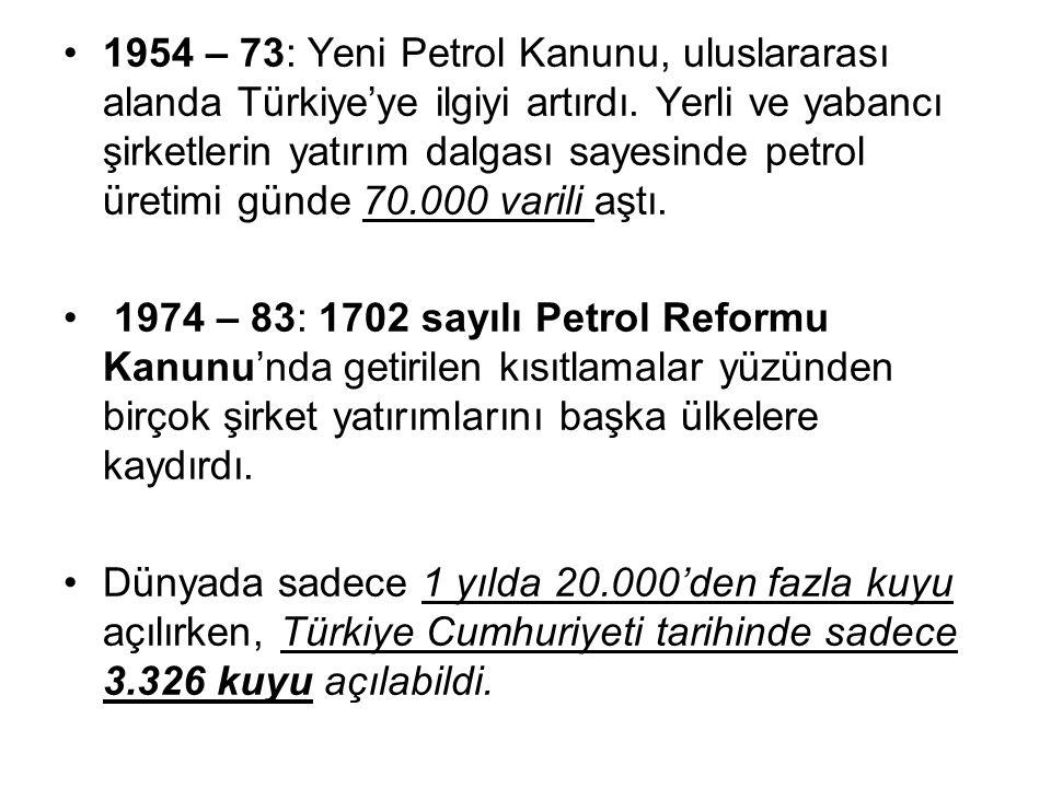 1954 – 73: Yeni Petrol Kanunu, uluslararası alanda Türkiye'ye ilgiyi artırdı. Yerli ve yabancı şirketlerin yatırım dalgası sayesinde petrol üretimi günde 70.000 varili aştı.