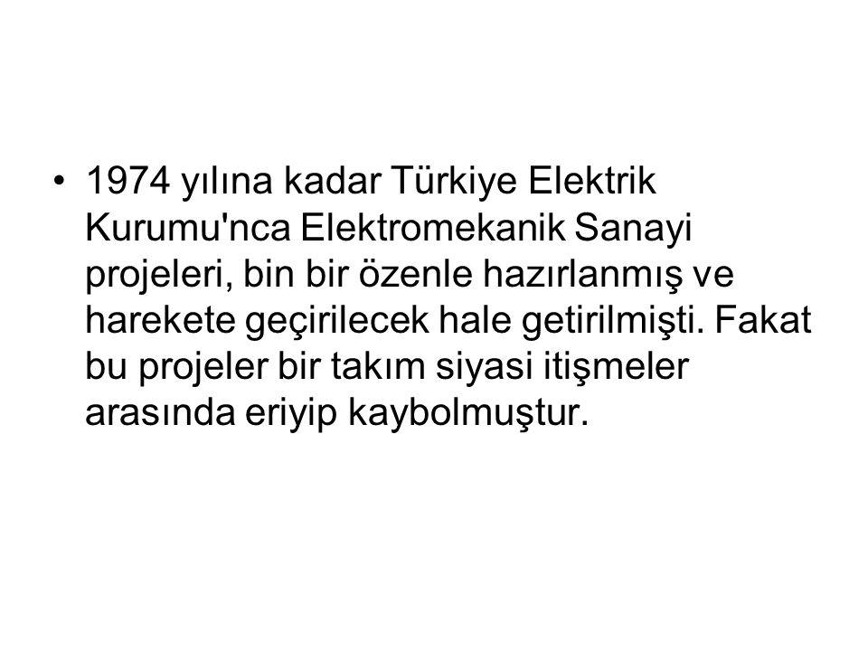 1974 yılına kadar Türkiye Elektrik Kurumu nca Elektromekanik Sanayi projeleri, bin bir özenle hazırlanmış ve harekete geçirilecek hale getirilmişti.