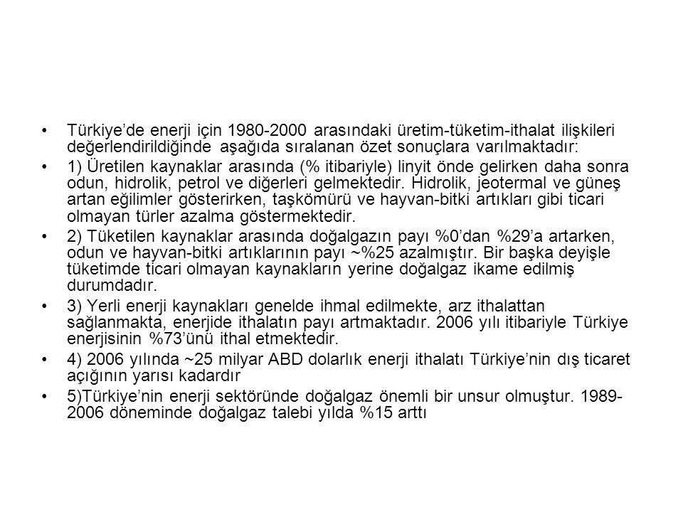 Türkiye'de enerji için 1980-2000 arasındaki üretim-tüketim-ithalat ilişkileri değerlendirildiğinde aşağıda sıralanan özet sonuçlara varılmaktadır:
