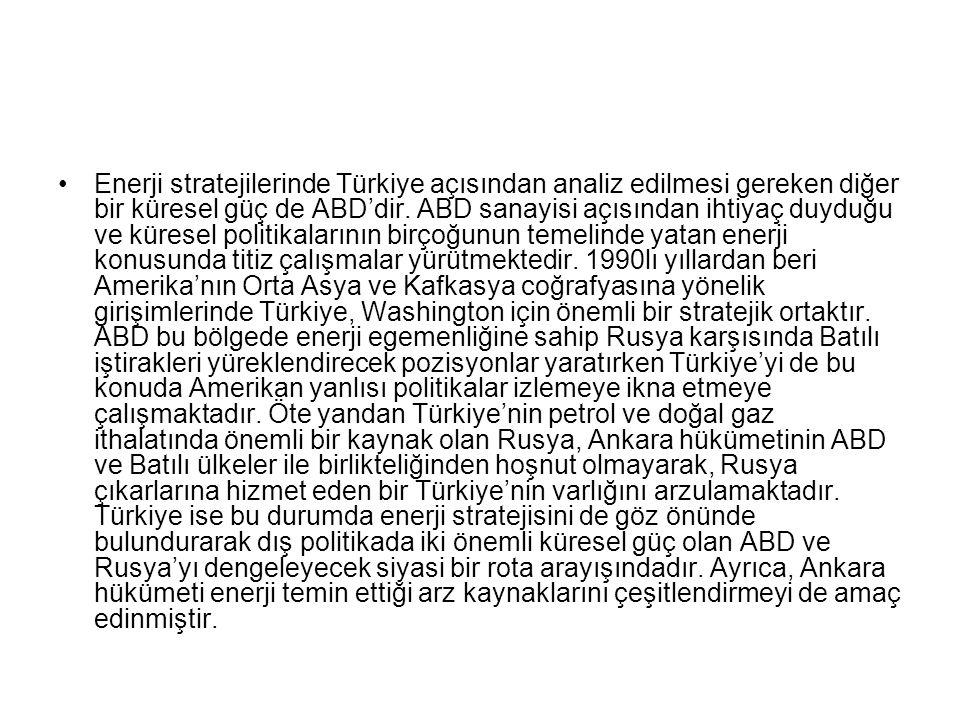 Enerji stratejilerinde Türkiye açısından analiz edilmesi gereken diğer bir küresel güç de ABD'dir.
