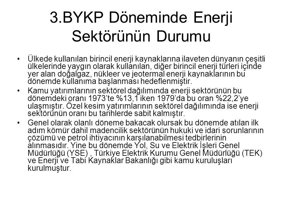 3.BYKP Döneminde Enerji Sektörünün Durumu
