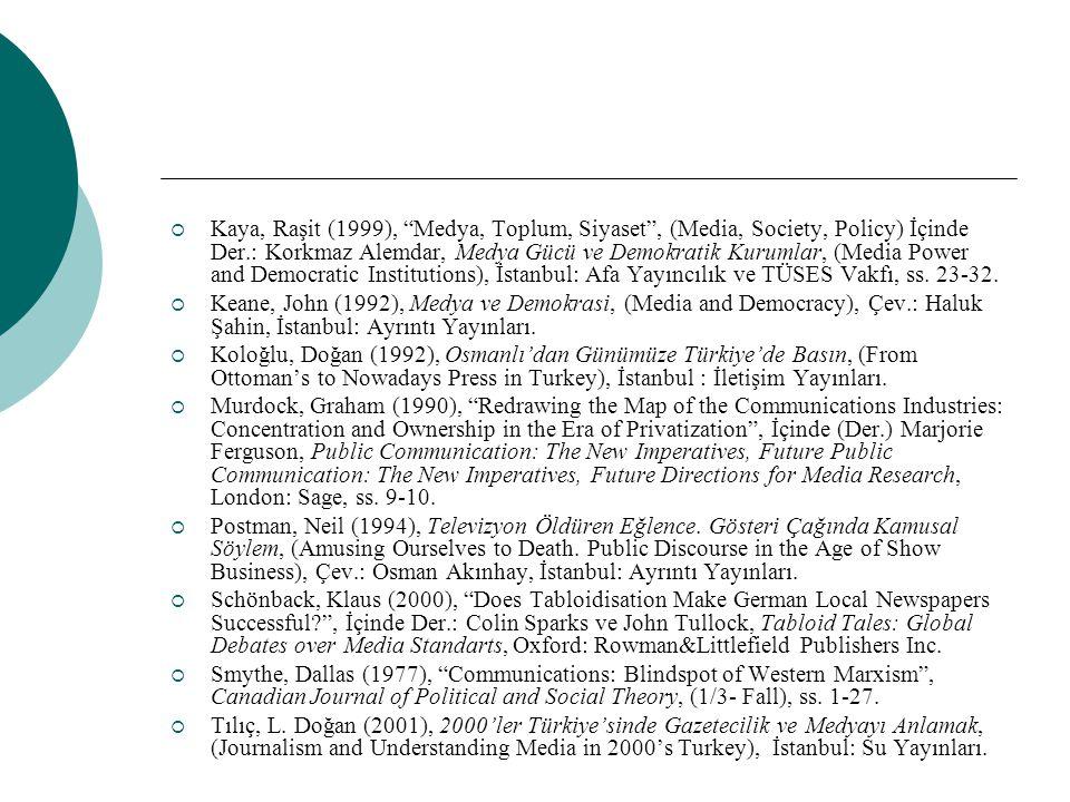 Kaya, Raşit (1999), Medya, Toplum, Siyaset , (Media, Society, Policy) İçinde Der.: Korkmaz Alemdar, Medya Gücü ve Demokratik Kurumlar, (Media Power and Democratic Institutions), İstanbul: Afa Yayıncılık ve TÜSES Vakfı, ss. 23-32.