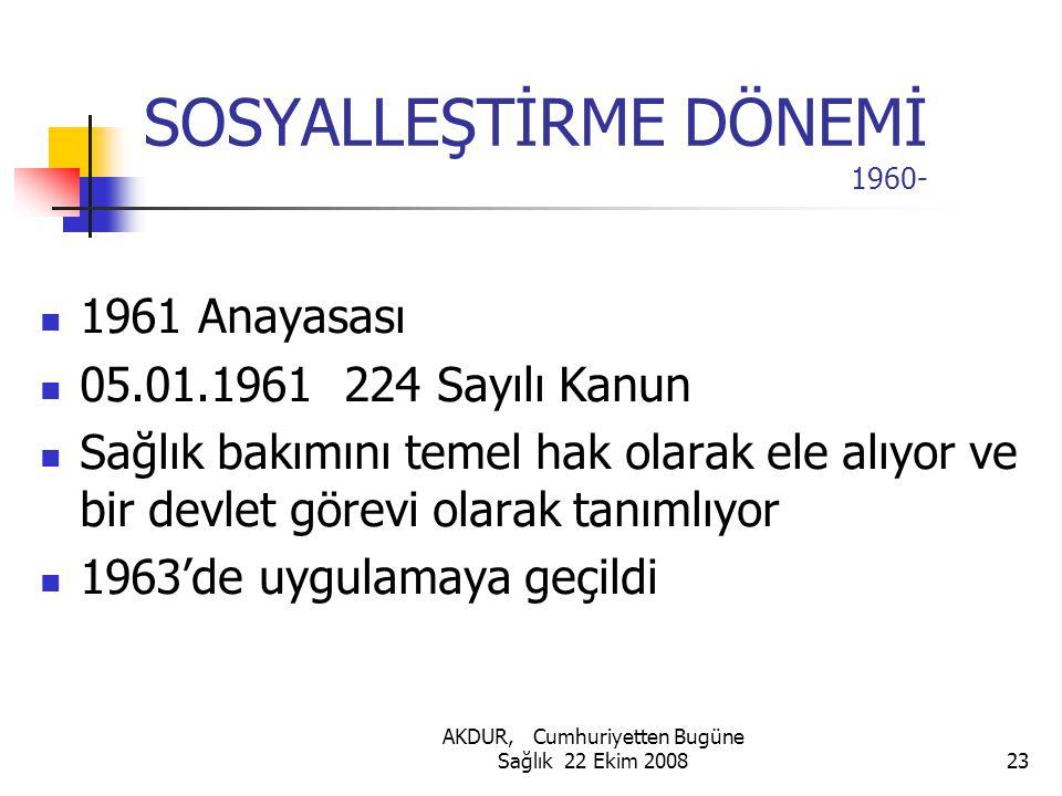 SOSYALLEŞTİRME DÖNEMİ 1960-